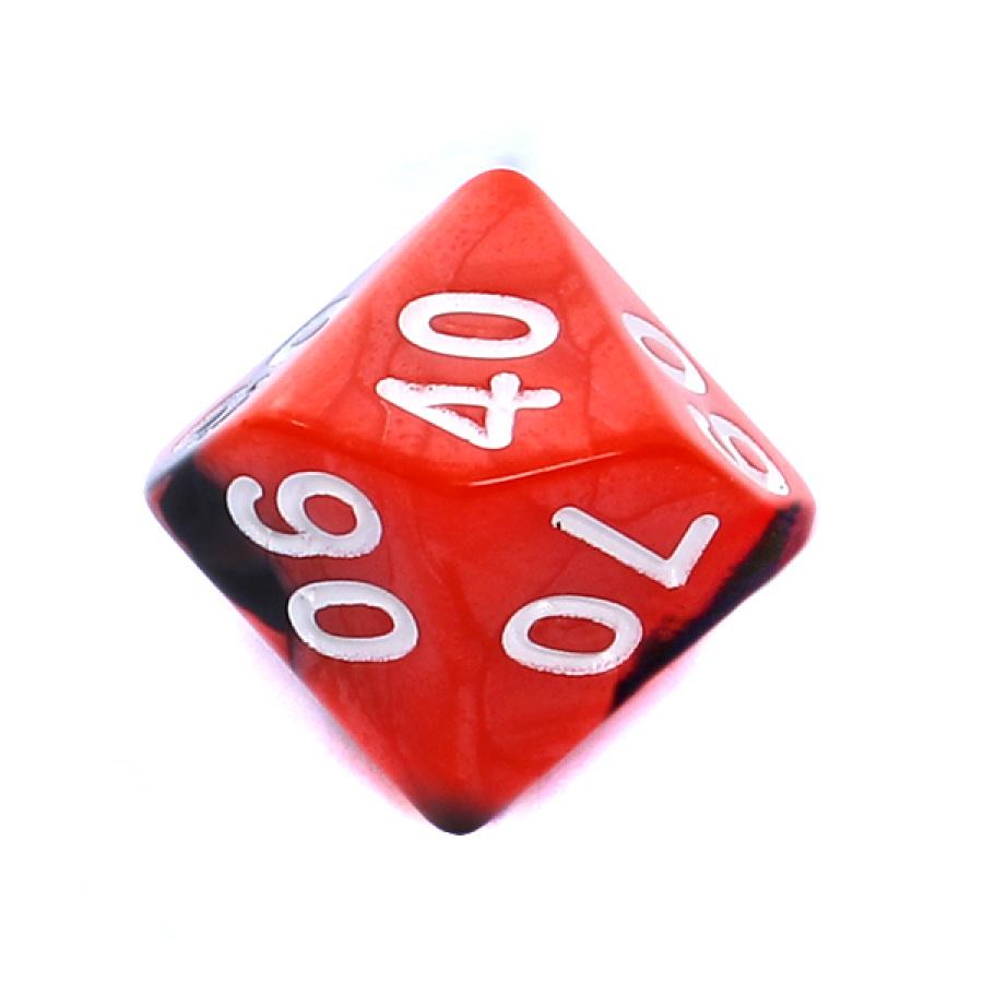 Kość REBEL dwukolorowa 10 Ścian (setka) - Cyfry - Czerwono-czarna