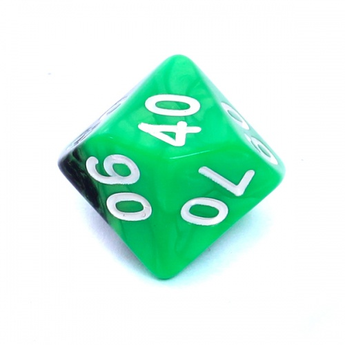 Kość REBEL dwukolorowa 10 Ścian (setka) - Cyfry - Zielono-czarna