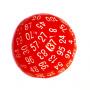 Kość REBEL matowa 100 Ścian kulista - Cyfry - Czerwona