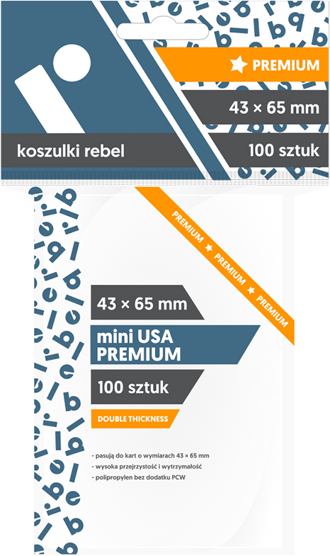 "Koszulki na karty Rebel (43x65 mm) ""Mini USA Premium"", 100 sztuk"