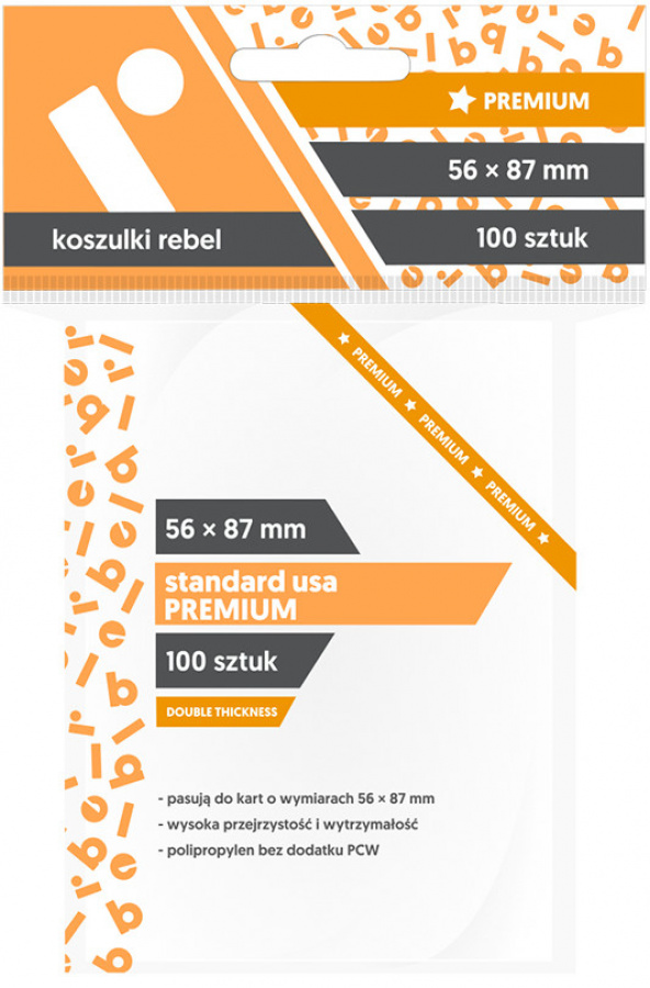 "Koszulki na karty Rebel (56x87 mm) ""Standard USA Premium"", 100 sztuk"