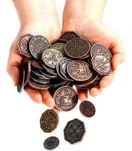Zdjęcie przedstawia wszystkie 8 typów tematycznych monet (nie tylko Smocze).