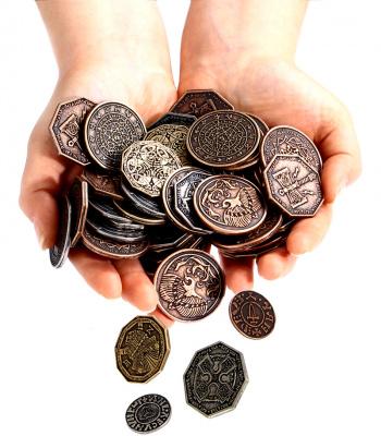 Zdjęcie przedstawia wszystkie 8 typów tematycznych monet (nie tylko Średniowieczne).