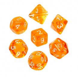 Komplet kości REBEL RPG - Mini Kryształowe - Pomarańczowe