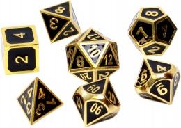 Komplet kości REBEL RPG - Metal - Tłoczone czarne złoto