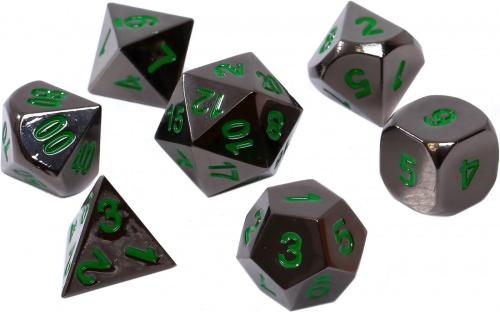 Komplet kości REBEL RPG - Metal - Czarna stal z zielonymi numerami