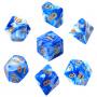 Komplet kości REBEL RPG - Dwukolorowe - Niebiesko-białe (złote cyfry)