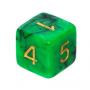 Kość REBEL dwukolorowa 6 Ścian - Cyfry złote - Zielono-czarna