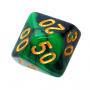 Kość REBEL dwukolorowa 10 Ścian (setka) - Cyfry złote - Zielono-czarna