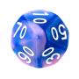 Kość REBEL dwukolorowa 10 Ścian (setka) - Cyfry - Niebiesko-różowa