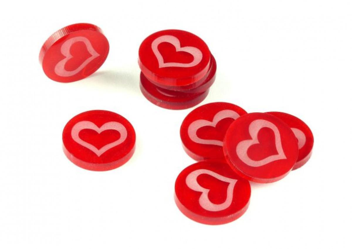 Crafters: Znaczniki akrylowe - Czerwone - Serce (10)