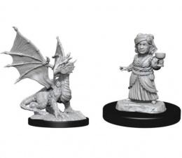 Dungeons & Dragons: Nolzur's Marvelous Miniatures - Silver Dragon Wyrmling & Female Halfling