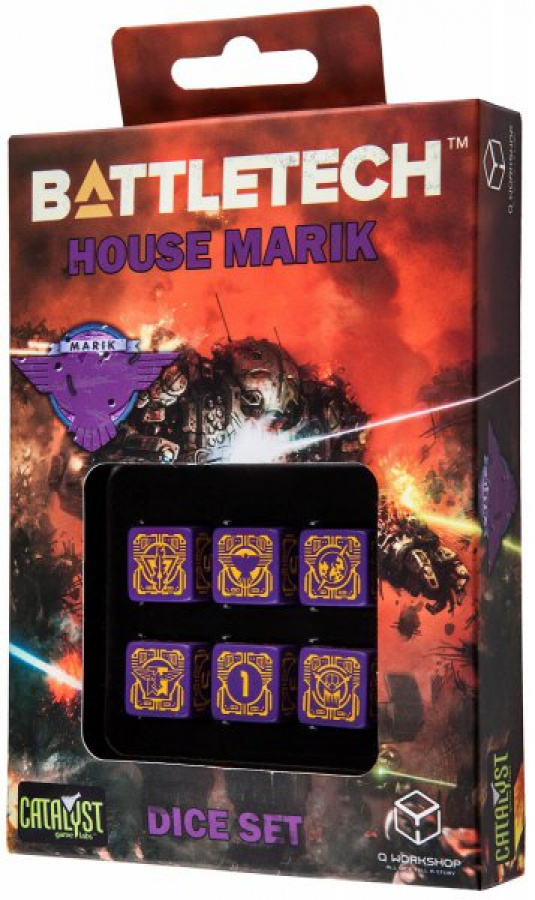 Komplet Kości Battletech - House Marik - Fioletowo-pomarańczowy