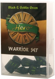 PolyHero Dice: Warrior Set (black & goblin green)