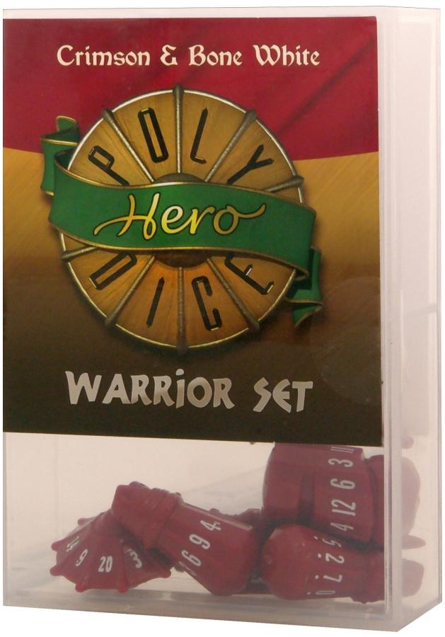 PolyHero Dice: Warrior Set (crimson & bone white)
