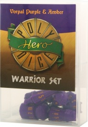 PolyHero Dice: Warrior Set (vorpal purple & amber)