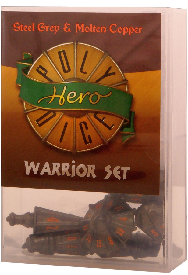 PolyHero Dice: Warrior Set (steel grey & molten copper)