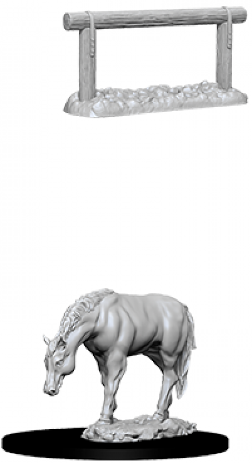 WizKids Deep Cuts: Unpainted Miniatures - Horse & Hitch