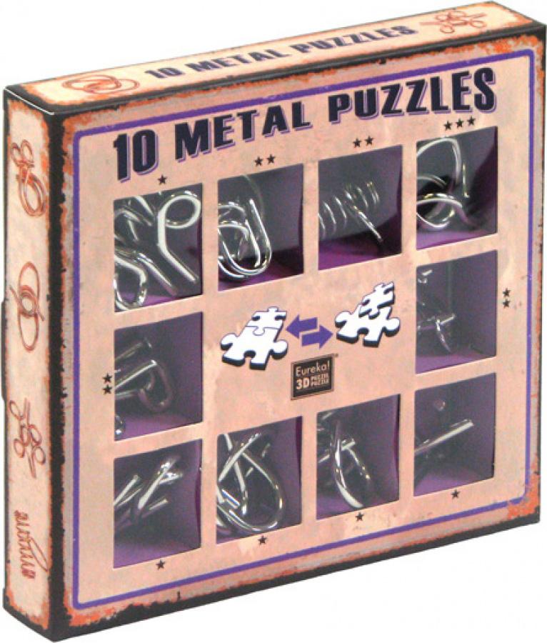 Łamigłówki Metalowe (10 Metal Puzzles) zestaw fioletowy